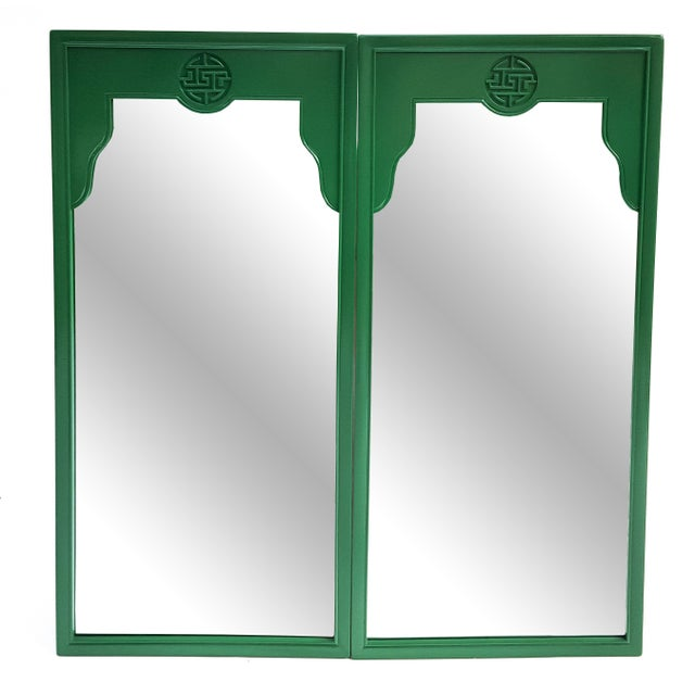 Image of Vintage Green Chinoiserie Drexel Mirrors - A Pair