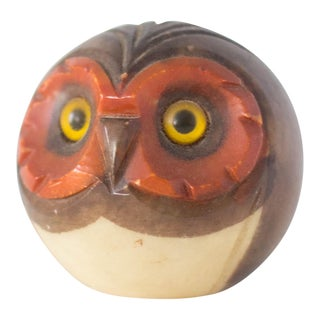 Italian Mid-Century Modern Carved Alabaster Owl Paperweight