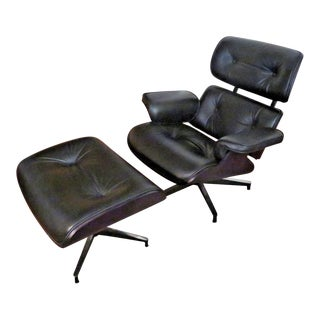 Herman Miller Eames Lounge Ebony Ash Shell with Black Leather Chair & Ottoman