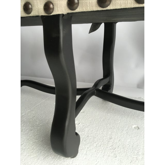"""Image of Traditional Textured Linen 60"""" Bench, Dark Finish"""