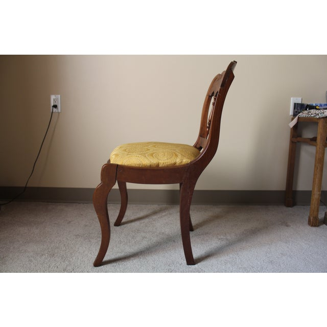 Wood & Yellow Seat Louis XV Style Side Chair - Image 3 of 7