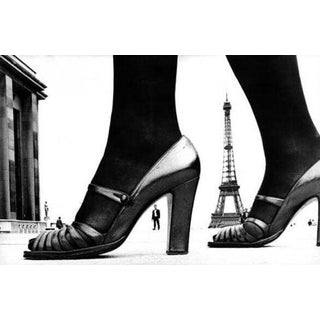 Paris Shoe and Eiffel Tower A, black and white photography by Frank Horvat
