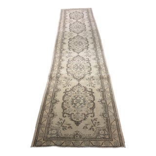 "2'9""x12'3"" Vintage Distressed Turkish Oushak Runner"