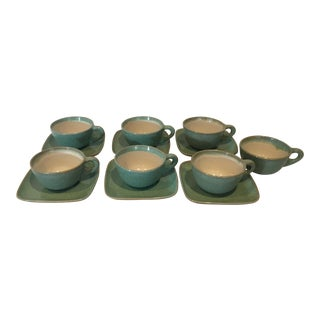 Glidden Matrix Turquoise Cups & Saucers - Set of 13