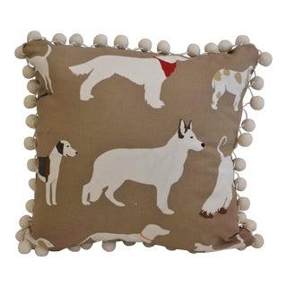 Beige Dog Cotton Print Pillow