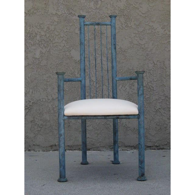Blue Patinated Metal Chairs - Set Of 4 - Image 5 of 6