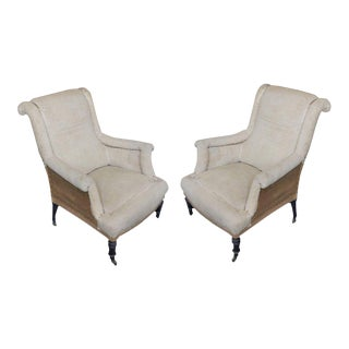Pair of French 19th Century Napoleon III Scrolled Armchairs