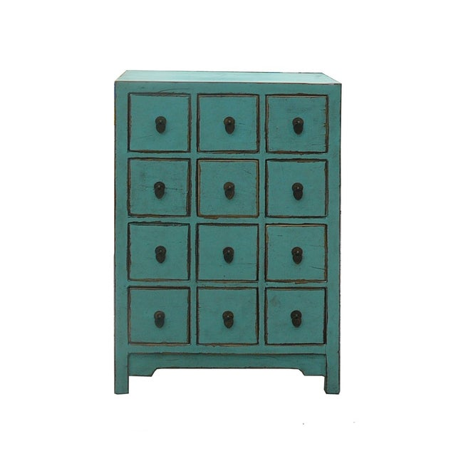 Chinese Rustic Turquoise Cabinet Side Table - Image 1 of 4