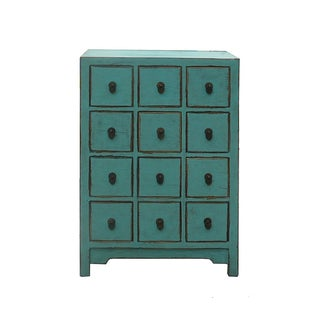 Chinese Rustic Turquoise Cabinet Side Table
