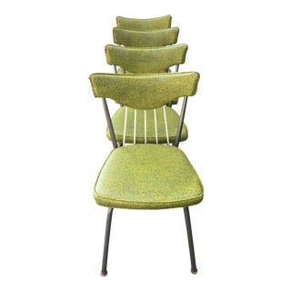 Mid-Century Atomic Green Dining Chairs - Set of 4