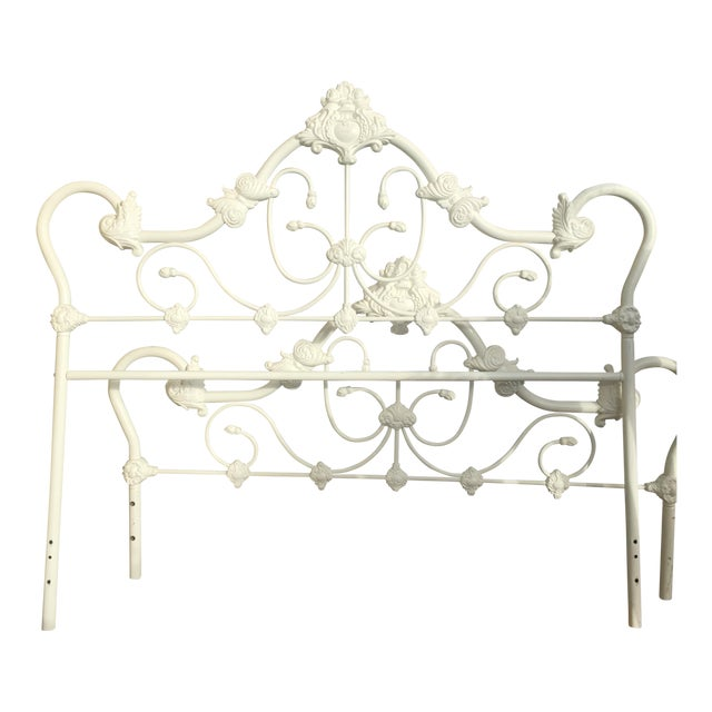 Antique Victorian White Enamel Queen Bed - Image 1 of 3