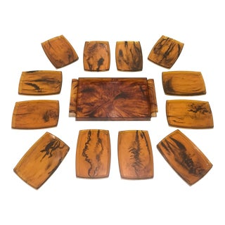 Faux Tortoise Shell Hors D' Oeuvre Tray & Plates -13Pcs