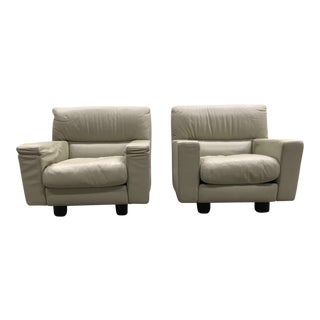 Italian Leather Lounge Chairs - A Pair