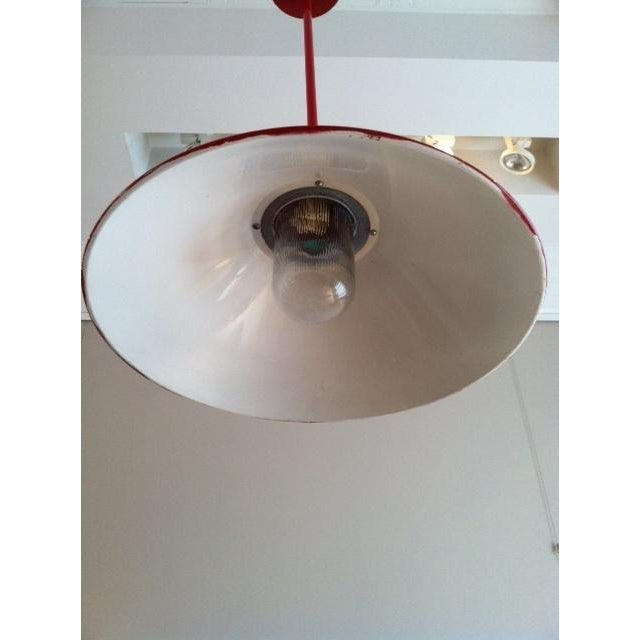 Red Industrial Pendant Lamp - Image 3 of 3