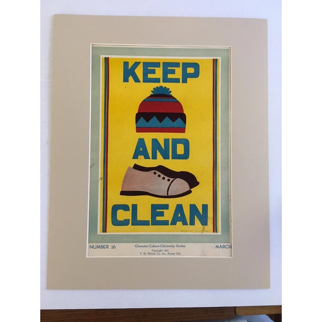 """Vintage 1930's """"Keep (Hat) and (Shoes) Clean Classroom Poster - Image 3 of 3"""