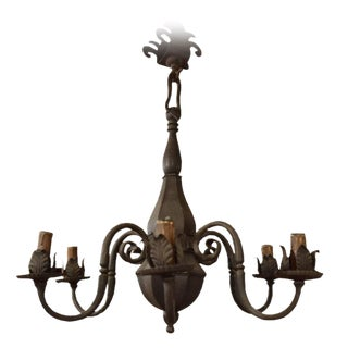 Wrought Iron Six-Arm Chandelier by José Thenee