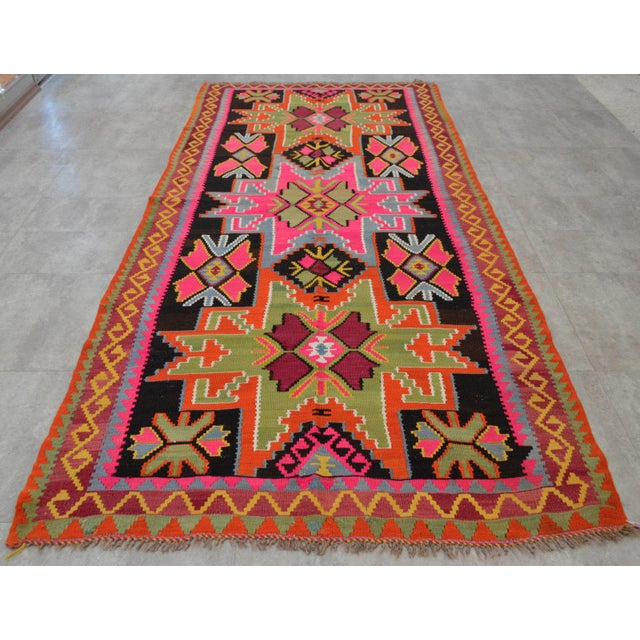 Art Kilim Wool Rug: Vintage Turkish Kilim Runner Rug Hand Woven Wool Large