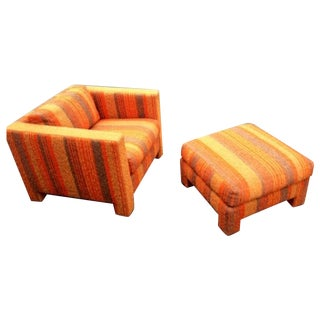 Vintage 1970s Orange Club Chair & Ottoman