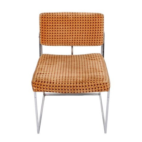 Thayer Coggin Upholstered Chrome Chairs - A Pair - Image 2 of 6