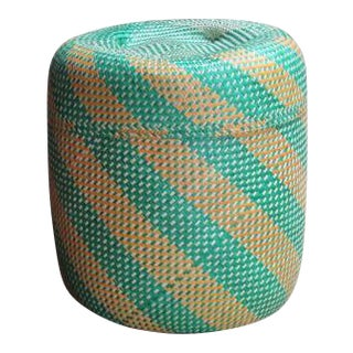 Hand-Woven Striped Palm Basket