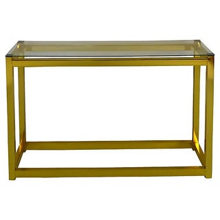 Brass & Glass Parsons Console Table