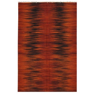 Red & Black Indian Kilim - 5′1″ × 8′
