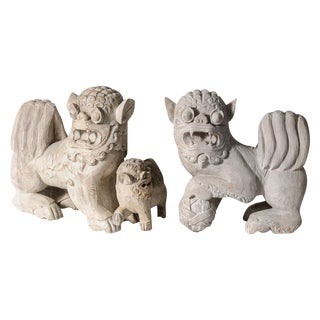 Antique Chinese Hand Carved Foo Dogs - a Pair