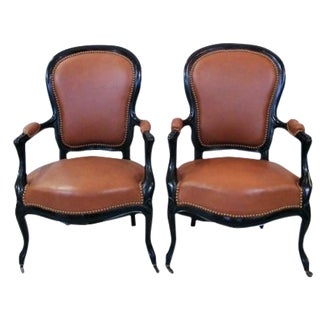 Tan Leather French Armchairs - A Pair