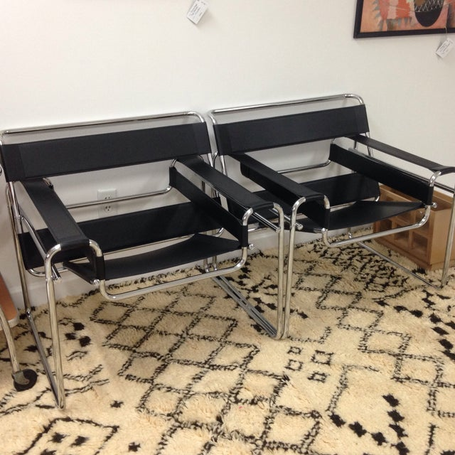 Image of Wassily Style Italian Leather Lounge Chairs - 2