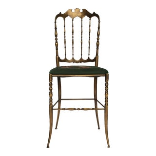 Italian Brass Chiavari Chair With Needlepoint Seat