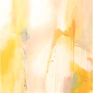 Sitting, Waiting, Wishing Yellow Abstract Painting