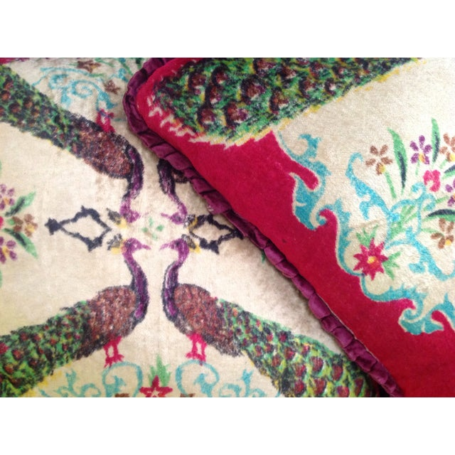 Antique Silk Velvet Persian Peacock Pillows - Pair - Image 6 of 11