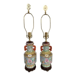 Colorful Chinese Porcelain Urn Lamps - a Pair