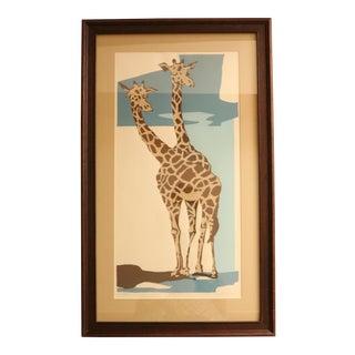 """Mid Century """"Giraffes"""" Silkscreen Print"""