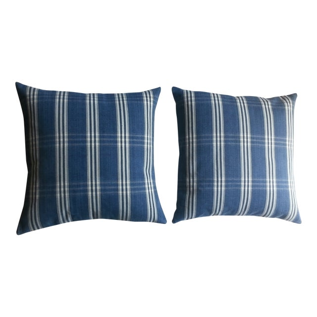 Guatemalan Blue & White Plaid Pillows - A Pair - Image 1 of 4
