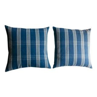 Guatemalan Blue & White Plaid Pillows - A Pair