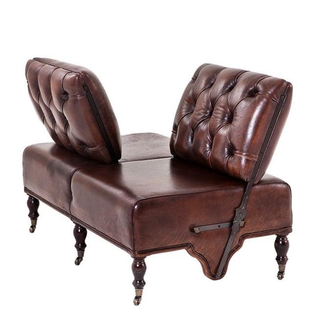 Image of Tufted Leather Tete a Tete Love Seat Sofa