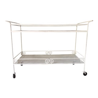 Outdoor Mid-Century White Iron Tea Cart on Casters