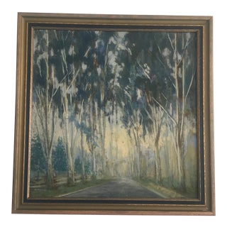 Original Tree Lined Street Oil Painting