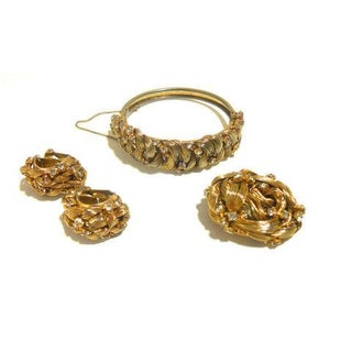 Handmade Spun Gold Hair Art Inspired Demi Parure