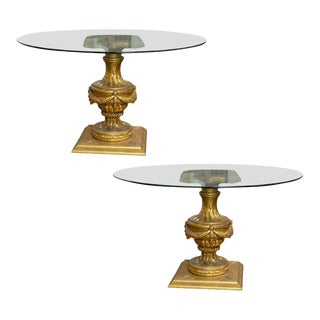 Louis XVI Style Glass Top Center Tables - A Pair