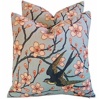 Magnolia Blossoms/Sparrow Pillows - Pair