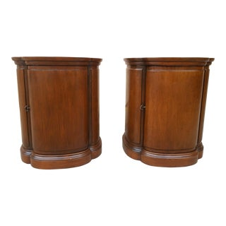 Henredon Walnut Clover Shaped End Tables - A Pair