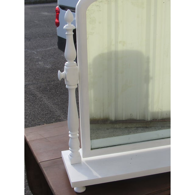 Antique Victorian Tilt Cottage Farmhouse Shaving Table Top Mirror - Image 7 of 9
