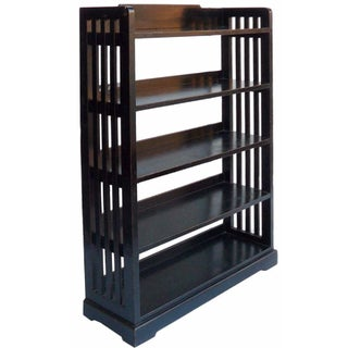 5-Shelf Black Lacquer Bookcase