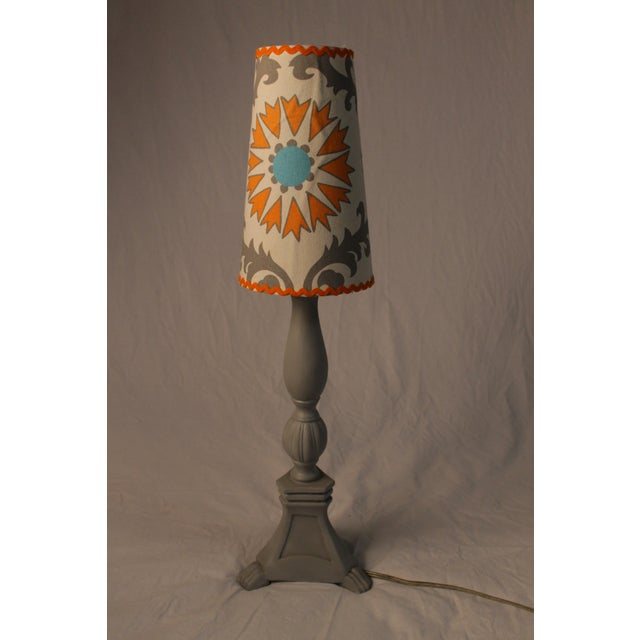 Grey Lamp With Decorative Shade - Image 2 of 4