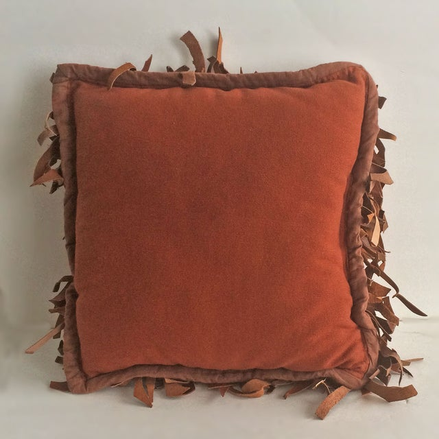 Vintage Shag Leather Pillow - Image 3 of 4