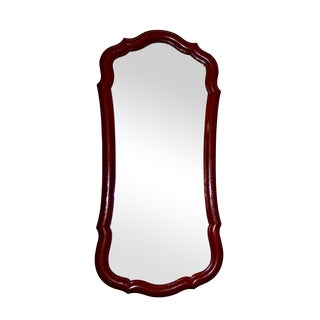 French-Style Red Scalloped Wall Mirror