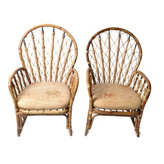 Rattan & Bamboo Dining Chairs - A Pair