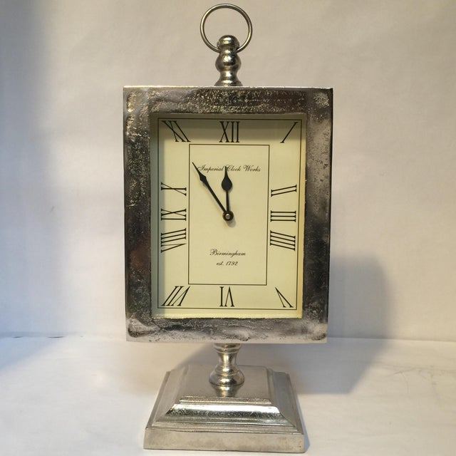 Large Silver Mantle Clock - Image 2 of 8
